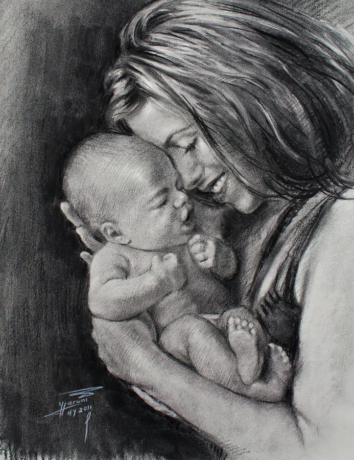 Mothers Day Drawing - Happy Young Mother by Ylli Haruni