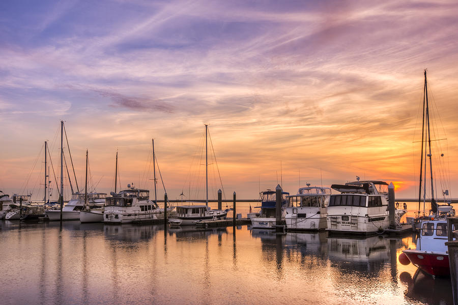 Boats Photograph - Harbor At Jekyll Island by Debra and Dave Vanderlaan