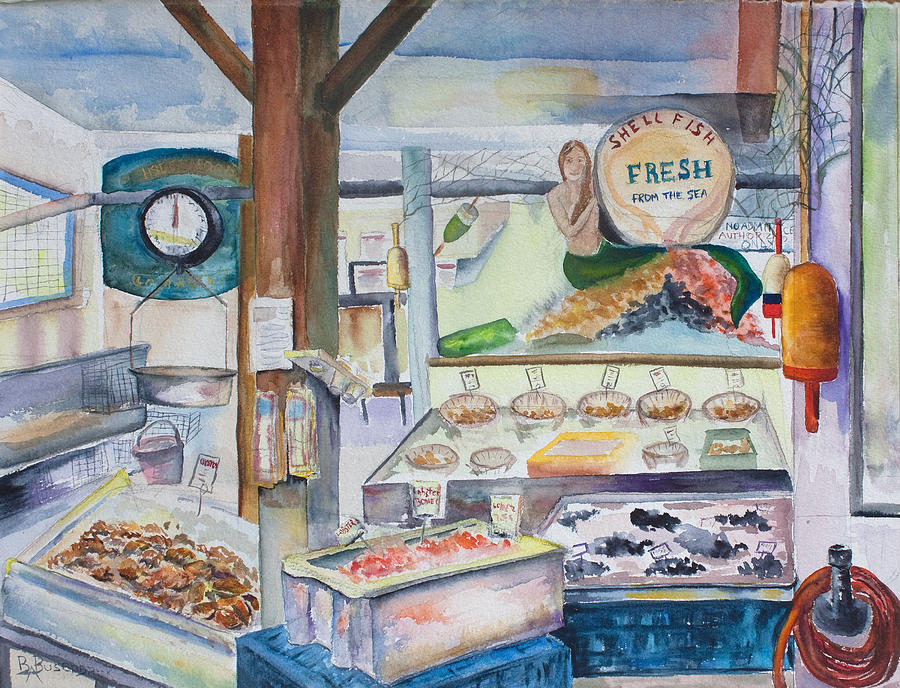 Harbor fish market painting by barbara busenbark for Harbor fish market portland maine