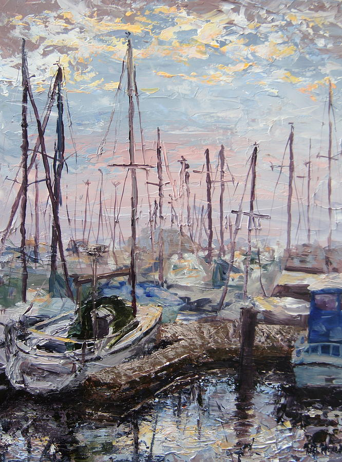 Dawn Painting - Harbor In Early Morning by Mary Haas