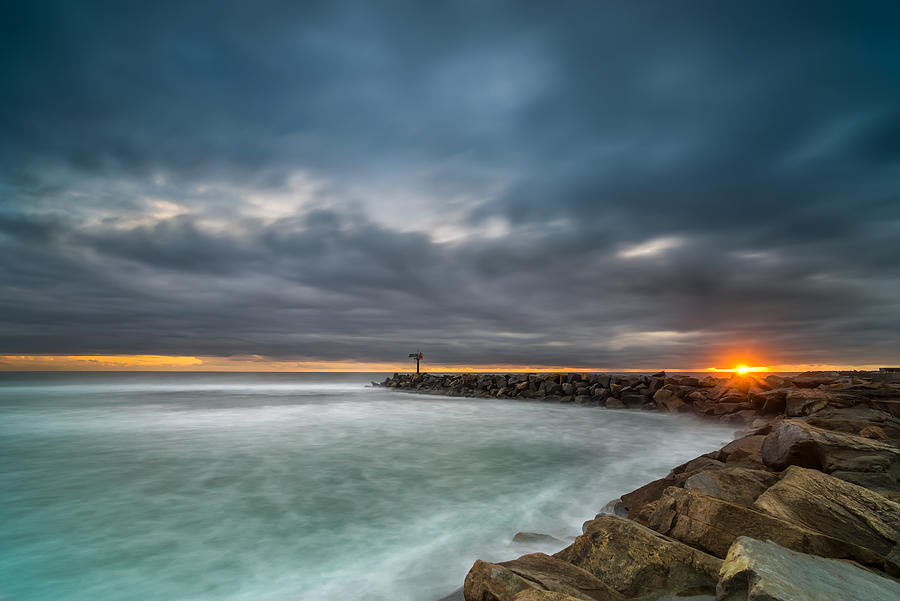 Oceanside Photograph - Harbor Jetty Sunset by Larry Marshall