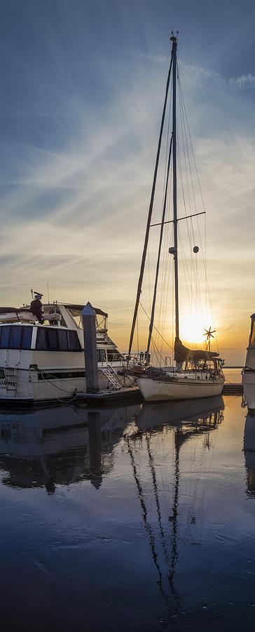 Boats Photograph - Harbor Light by Debra and Dave Vanderlaan