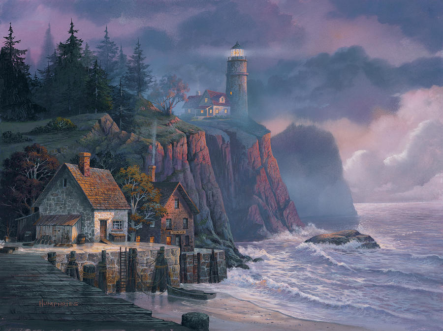 Michael Humphries Painting - Harbor Light Hideaway by Michael Humphries