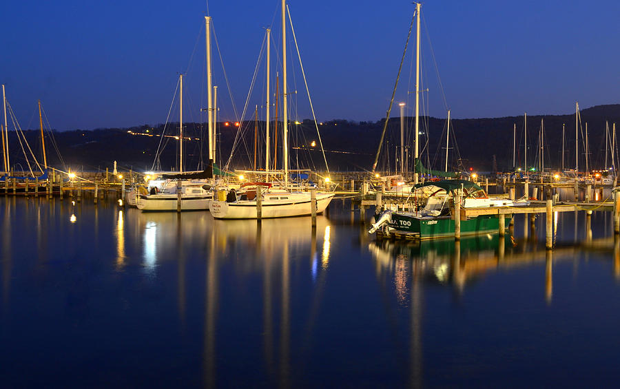 Night Photograph - Harbor Nights by Frozen in Time Fine Art Photography