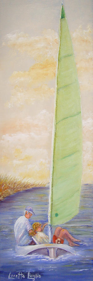 Boats Painting - Harbor Sail by Loretta Luglio