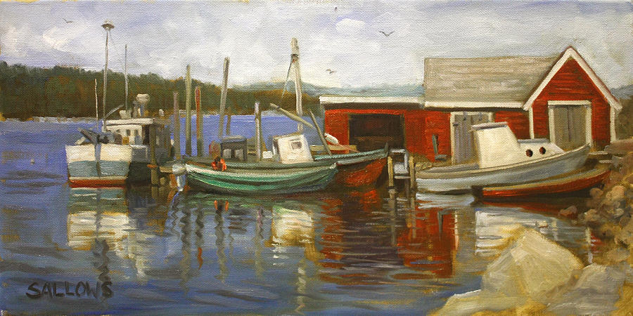 Harbor Scene Maine Painting by Nora Sallows