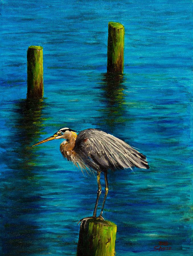 Ocean Painting - Harbor Sentry by C Steele