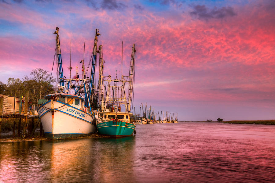 Boats Photograph - Harbor Sunset by Debra and Dave Vanderlaan