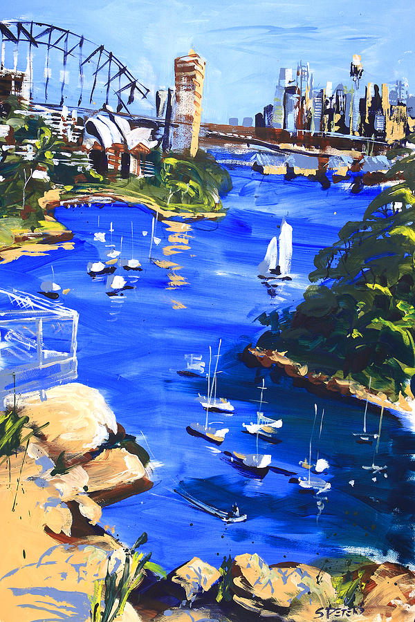 Sydney Painting - Harbour In Sun And Wind by Shirley  Peters
