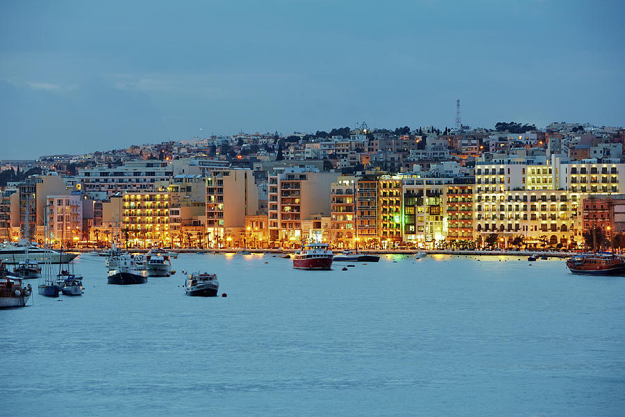 Harbourside Of Sliema Illuminated At Photograph by Allan Baxter