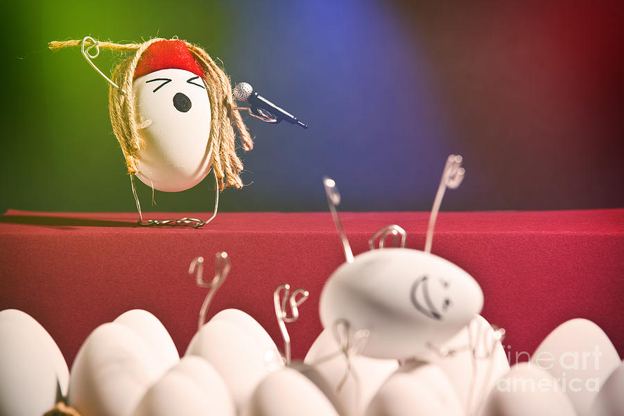 Egg Photograph - Hard Boiled Rock Concert by Sharon Dominick