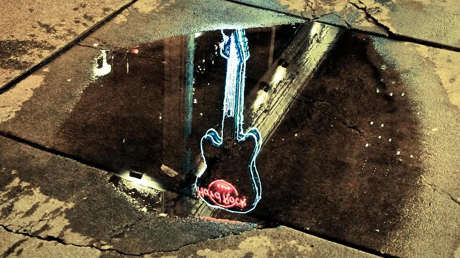 Evening Photograph - Hard Rock Cafe Reflection by Ronda Broatch
