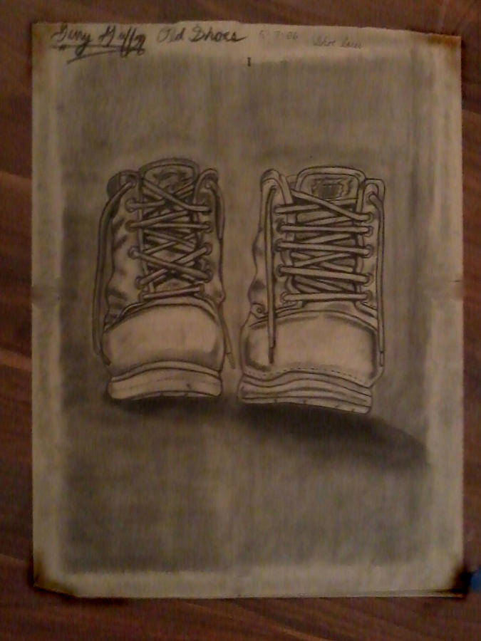 Charcoal  Art Drawing - Hard Worker Shoes by Gerald Griffin