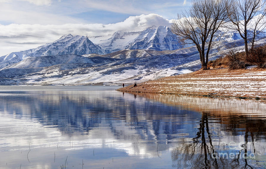 Mount Timpanogos Photograph - Hardy Fishermen Deer Creek Reservoir And Timpanogos In Winter by Gary Whitton