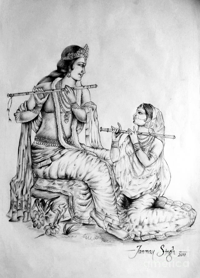 Iskcon Drawing - Hare Krishna by Tanmay Singh