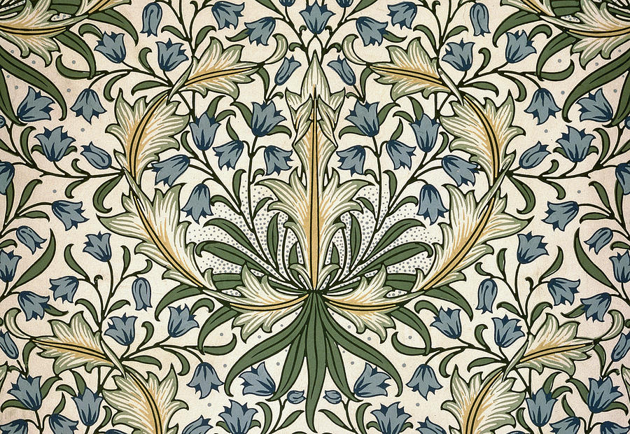Harebell design 1911 tapestry textile by william morris for Arts and crafts style prints
