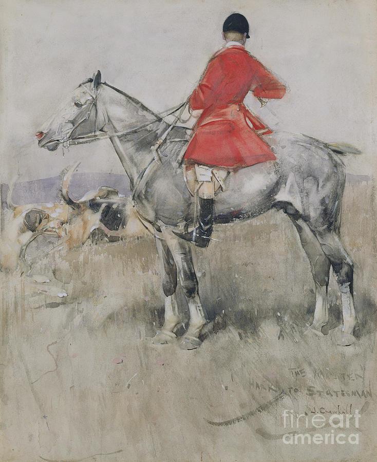 Fox Painting - Hark To Statesman by Joseph Crawhall