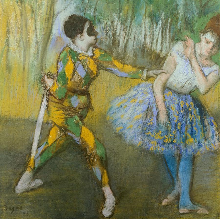 Art; Painting; 19th Century Painting; Europe; France; Degas Pastel - Harlequin And Columbine by Edgar Degas
