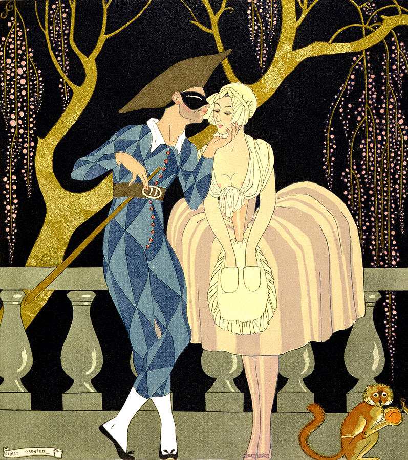 Harlequin Painting - Harlequins Kiss by Georges Barbier