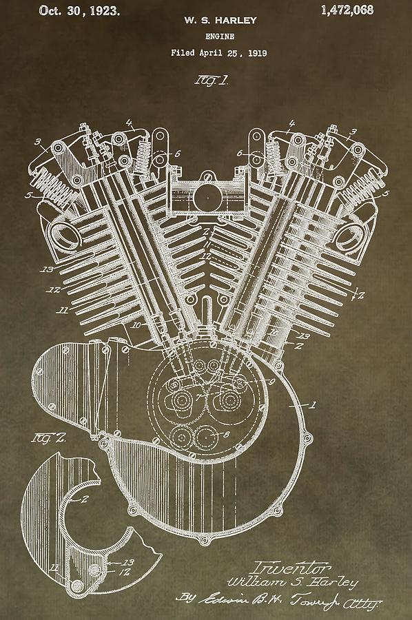Engine Mixed Media - Harley Davidson Engine by Dan Sproul