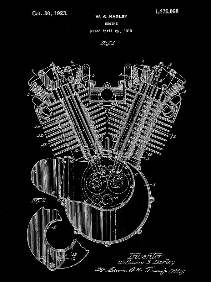 harley davidson engine patent 1919 black digital art by stephen younts rh pixels com harley davidson engine parts for 88 cu in harley davidson engine parts catalog
