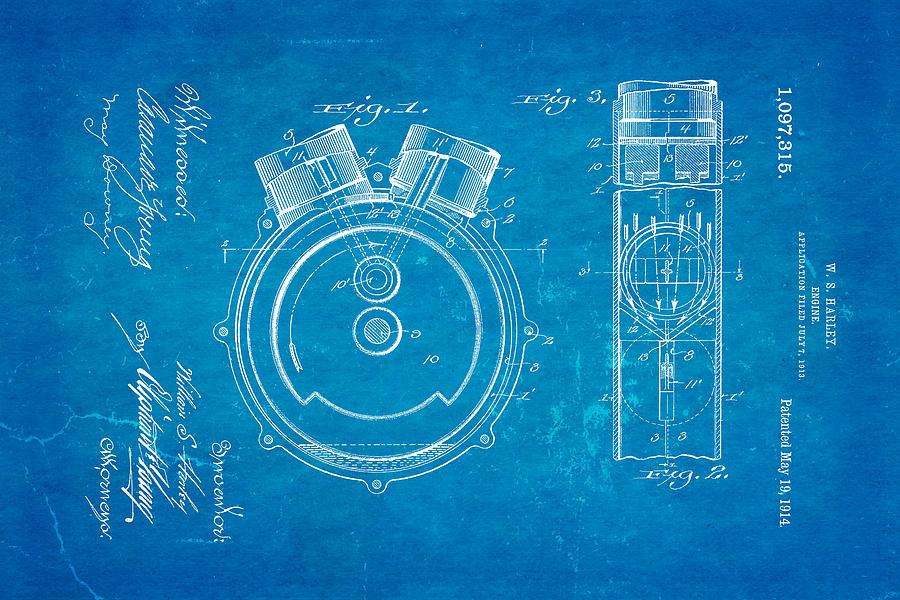 Harley davidson engine patent art 1914 blueprint photograph by ian monk engineer photograph harley davidson engine patent art 1914 blueprint by ian monk malvernweather Images
