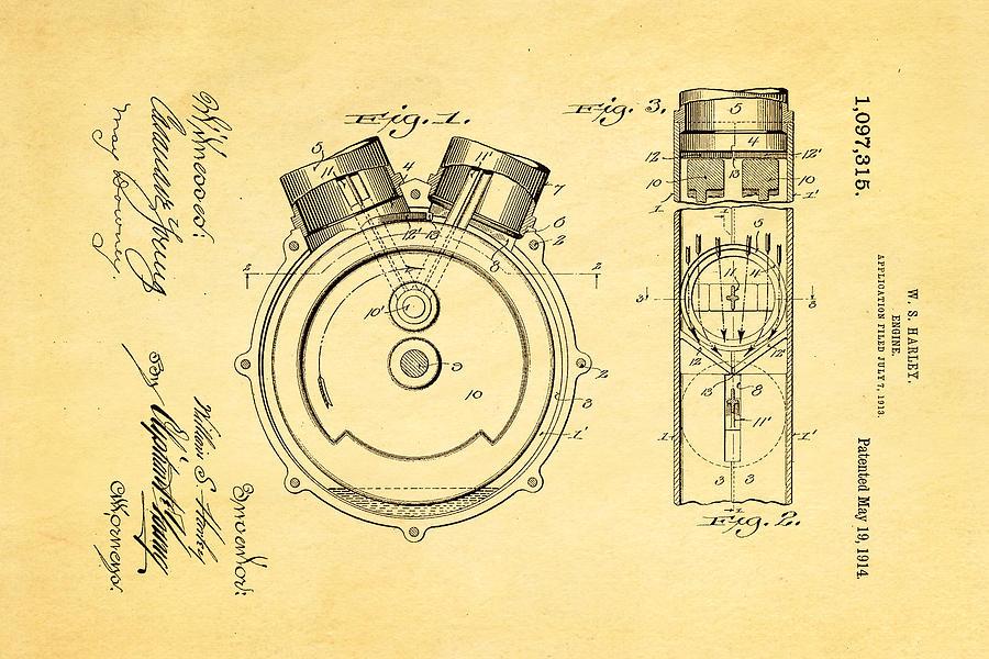 harley davidson engine patent art 1914 photograph by ian monk rh pixels com harley davidson engine rattles when warm harley davidson engine rattles when warm