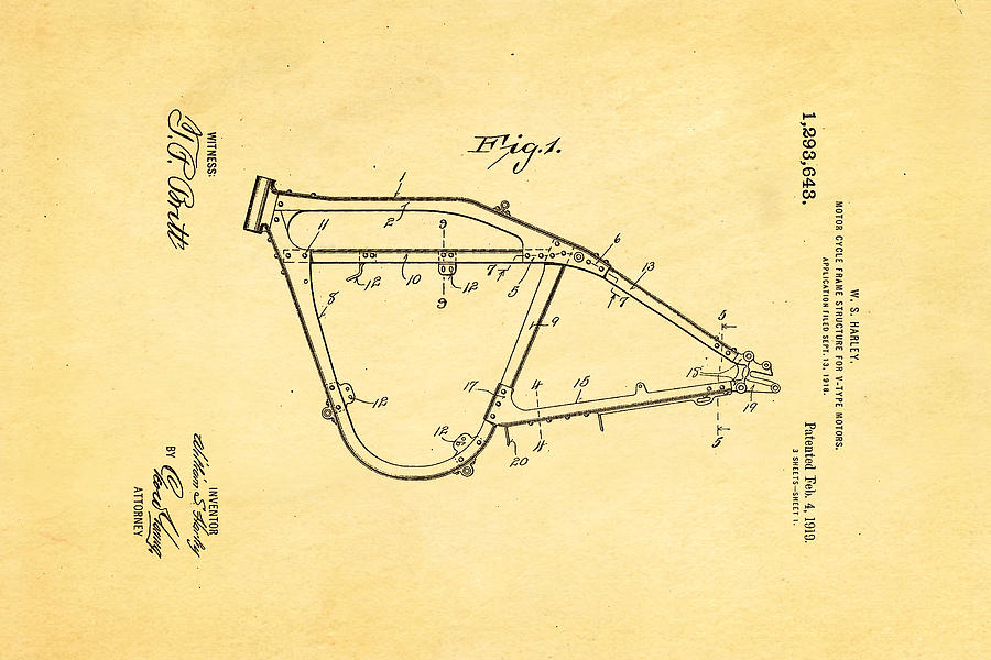 Pleasing Harley Davidson Frame For V Type Motors Patent Art 1919 Wiring Digital Resources Cettecompassionincorg