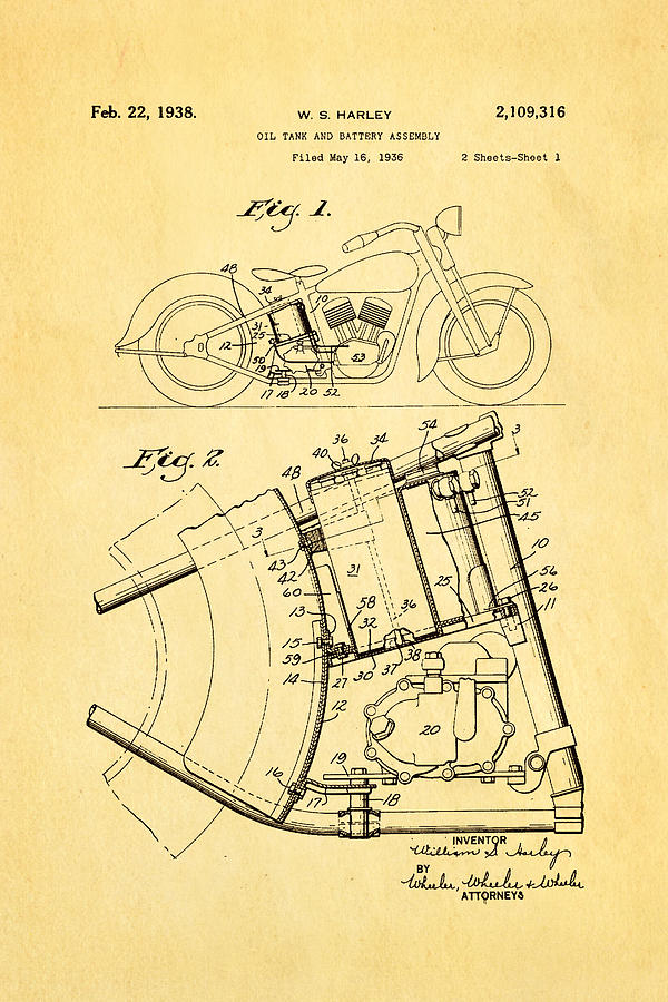 Engineer Photograph - Harley Davidson Horseshoe Oil Tank Patent Art 1938 by Ian Monk