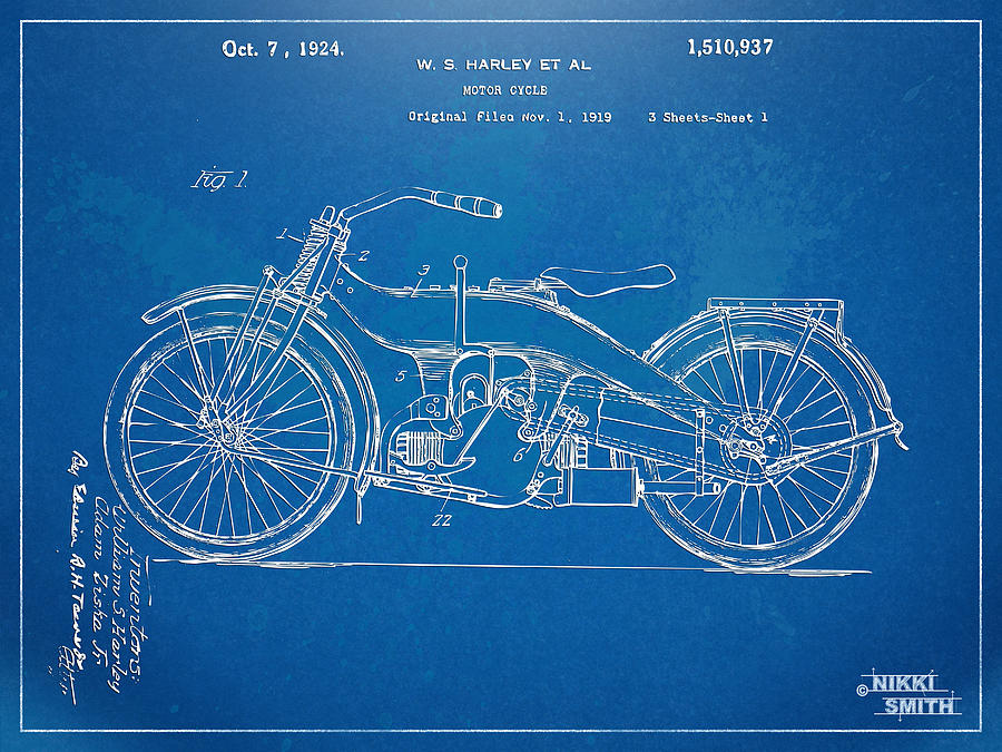 Harley davidson motorcycle 1924 patent artwork digital art by nikki harley davidson digital art harley davidson motorcycle 1924 patent artwork by nikki marie malvernweather Image collections