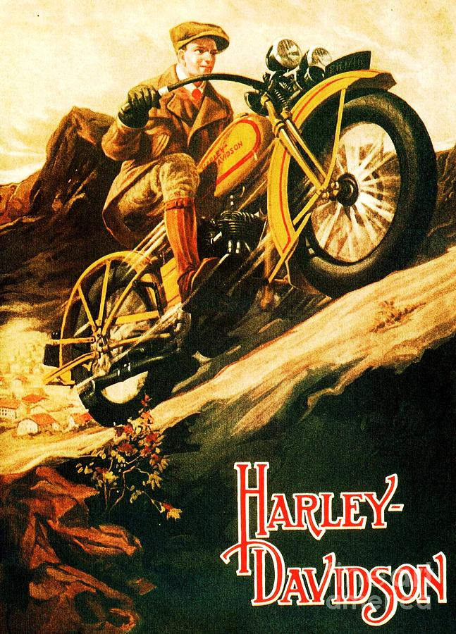 Art Deco Painting - Harley Davidson by Pg Reproductions