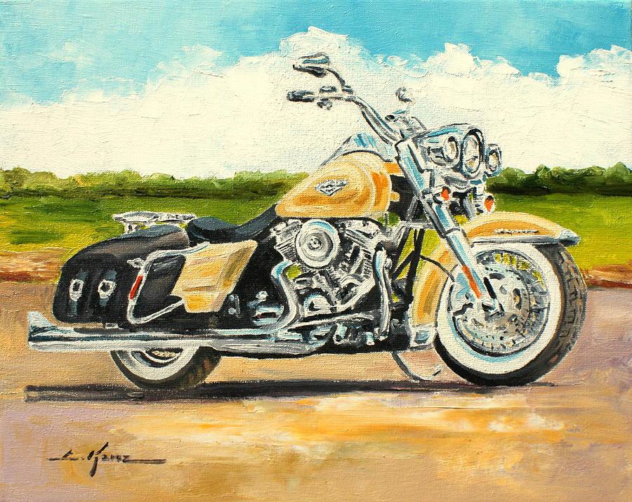 Harley Davidson Road King Painting by Luke Karcz