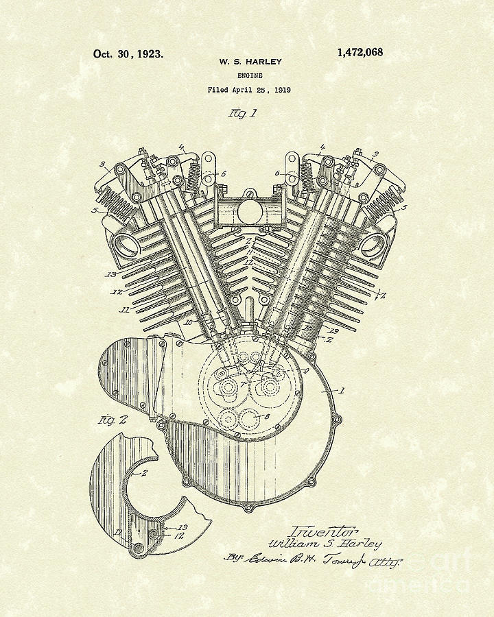 Harley Drawing - Harley Engine 1923 Patent Art by Prior Art Design