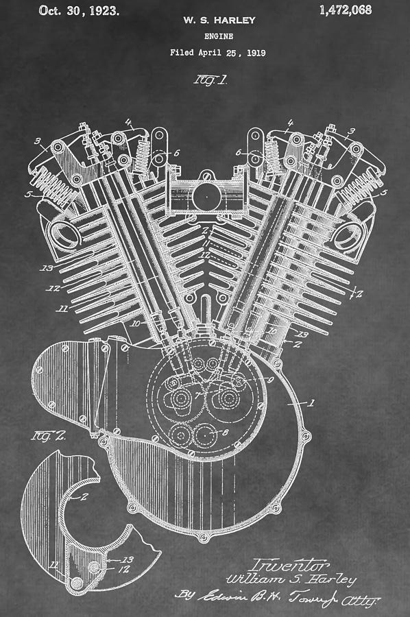 Engine Digital Art - Harley Engine Patent by Dan Sproul