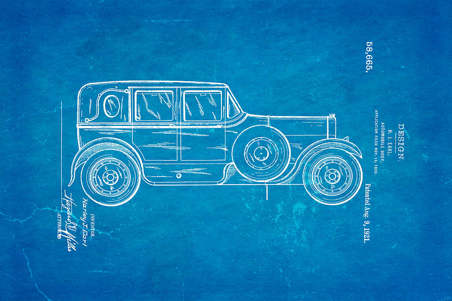 Harley j earl autombile car design patent art 1921 blueprint automotive photograph harley j earl autombile car design patent art 1921 blueprint by ian monk malvernweather Gallery
