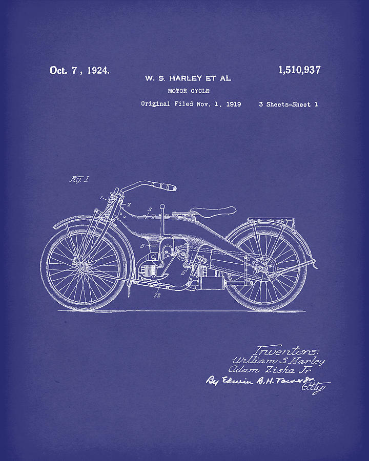 Harley Drawing - Harley Motorcycle 1924 Patent Art Blue by Prior Art Design