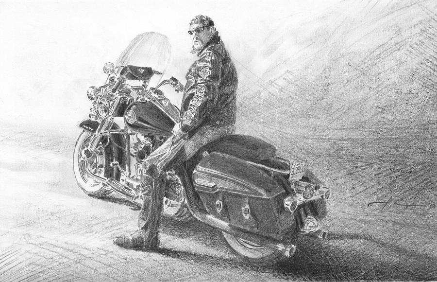 Harley Rider Pencil Portrait Drawing by Mike Theuer