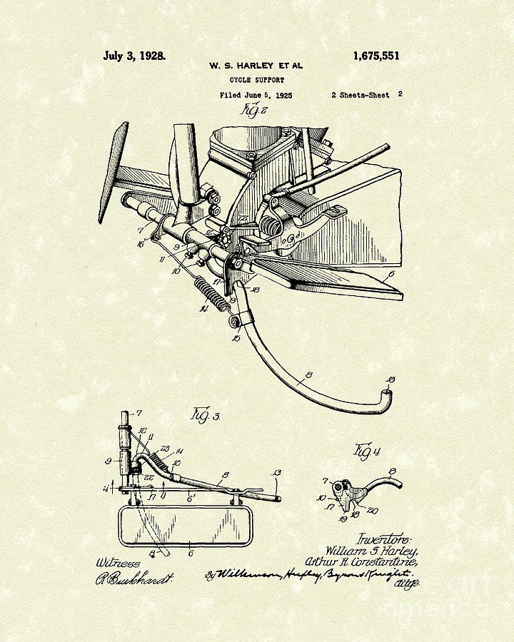 Harley Drawing - Harley Support 1928 Patent Art by Prior Art Design