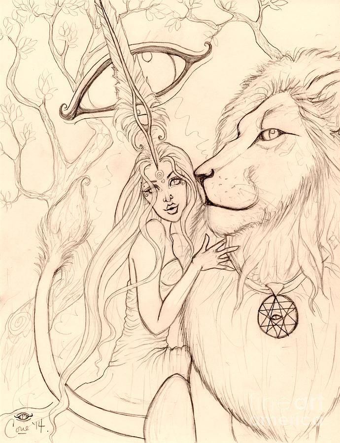 Lion Drawing - Harleyman Lionsun by Coriander  Shea