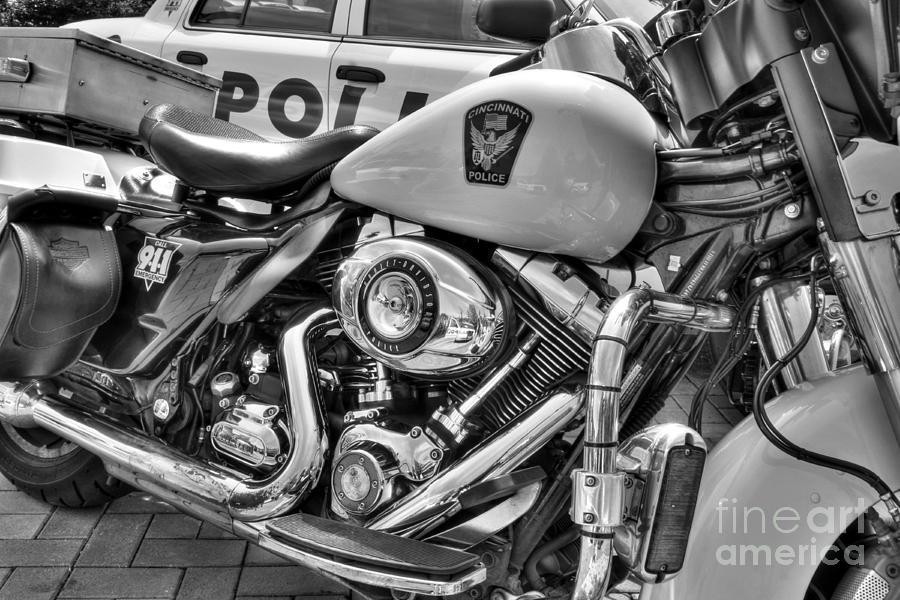 Barleys In Cincinnati Photograph - Harleys In Cincinnati 2 Bw by Mel Steinhauer