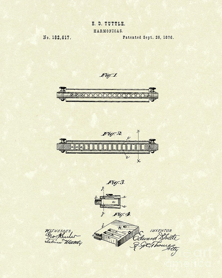 Tuttle Drawing - Harmonica 1876 Patent Art by Prior Art Design