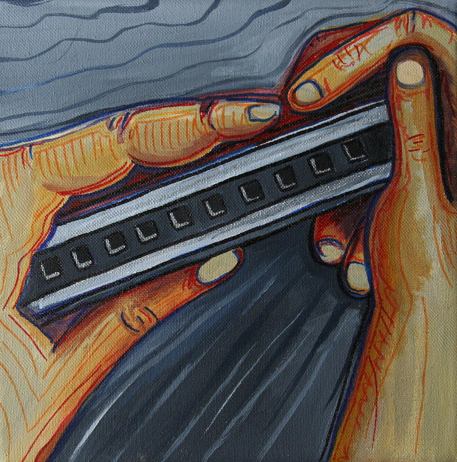 Harmonica Painting - Harmonica by Kate Fortin