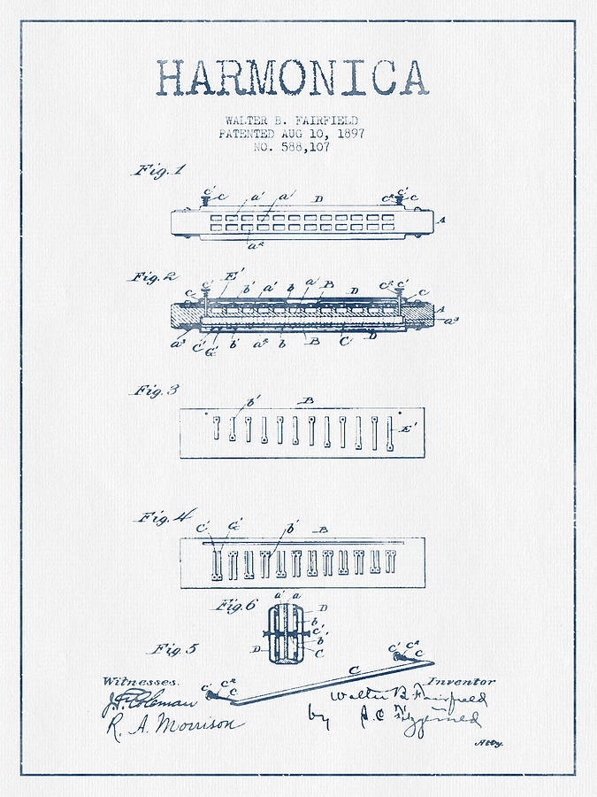 Harmonica Patent Drawing From 1897  - Blue Ink Digital Art