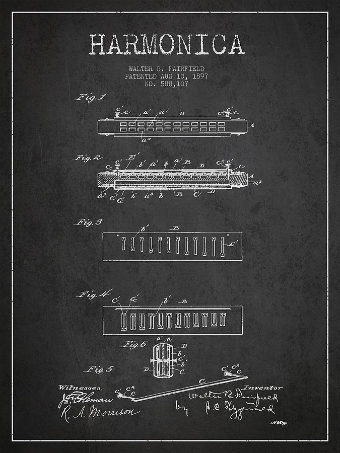 Harmonica Patent Drawing From 1897 - Dark Digital Art