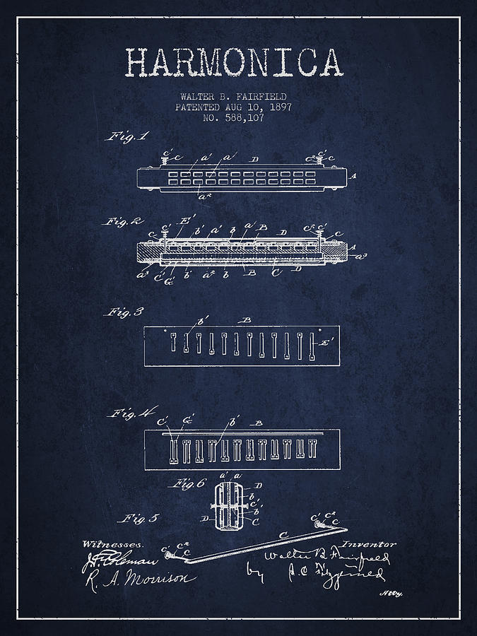 Harmonica Patent Drawing From 1897 - Navy Blue Digital Art