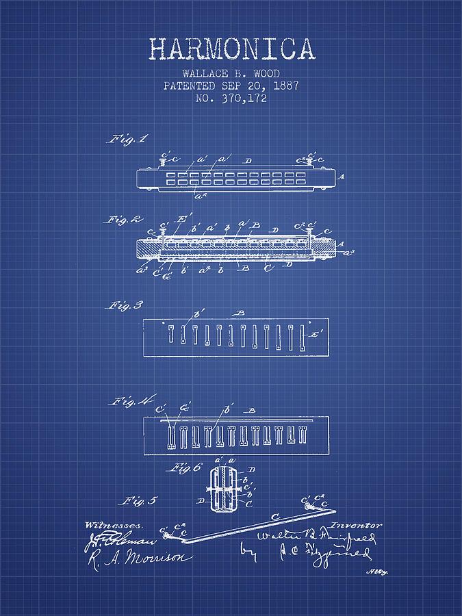 Harmonica Patent From 1897 - Blueprint Digital Art