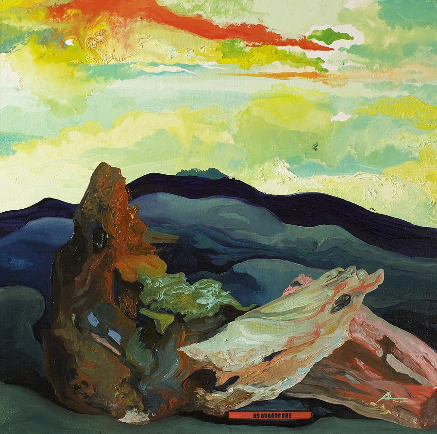 Landscape Painting - Harmonica Under Firewood by Joseph Demaree