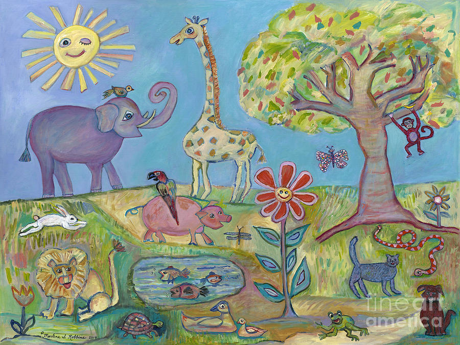 Animals Painting - Harmony Village by Marlene Robbins