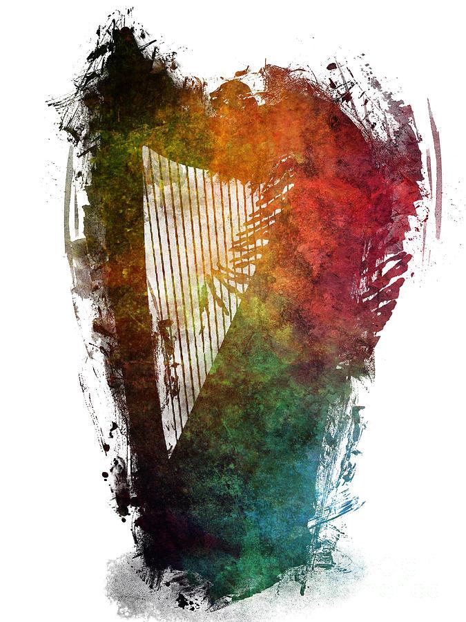 Harp Digital Art - Harp colored instrumental music by Justyna Jaszke JBJart