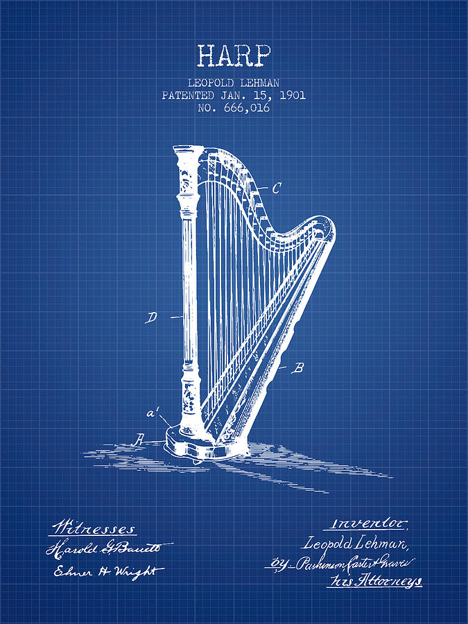 Harp music instrument patent from 1901 blueprint digital art by harp digital art harp music instrument patent from 1901 blueprint by aged pixel malvernweather Image collections